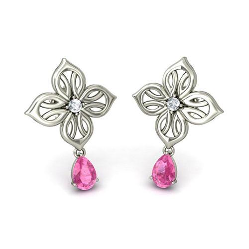 Серьги Kiev Jewelry Keeva с розовым сапфиром и бриллиантами 001060-1047308, фото