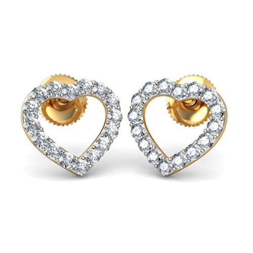 Серьги в форме сердечек золотые Kiev Jewelry Eternal Love с бриллиантами 001147-1047494, фото