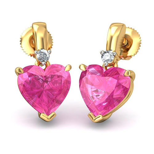 Золотые серьги Kiev Jewelry Ersilia с бриллиантами и розовым турмалином 001171-1047565, фото