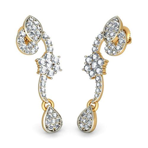 Золотые серьги Kiev Jewelry Kiara с бриллиантами 001196-1047647, фото