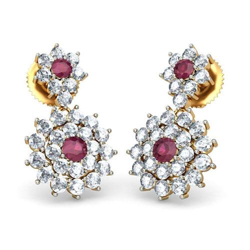 Золотые серьги Kiev Jewelry Sanjeevani инкрустированные бриллиантами и рубинами 001197-1047653, фото