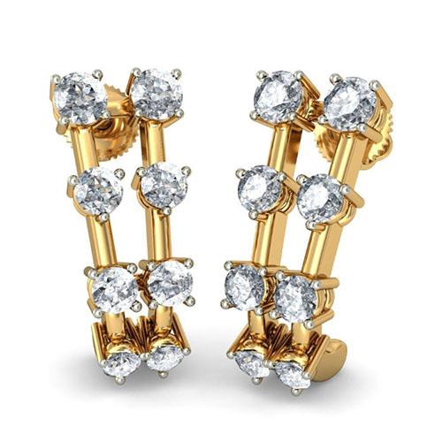Золотые серьги Kiev Jewelry Taj с бриллиантами 001204-1047679, фото
