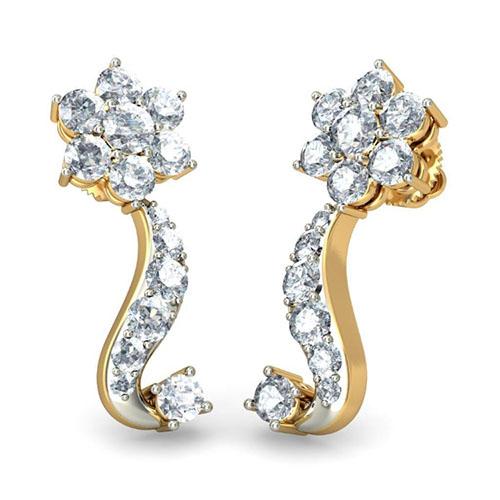 Золотые серьги Kiev Jewelry Niranjana с бриллиантами 001209-1047697, фото