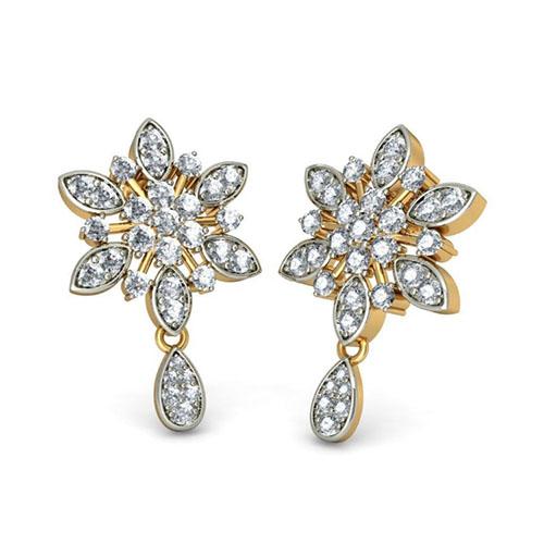 Золотые серьги Kiev Jewelry Charusheela с бриллиантаим 001214-1047716, фото