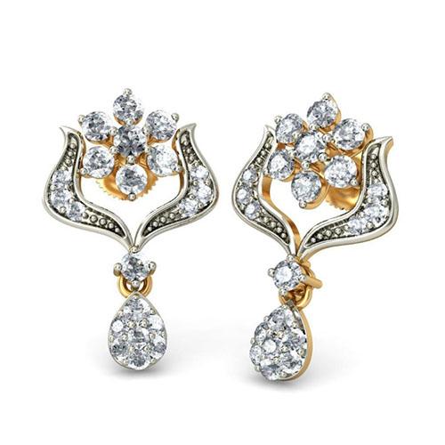 Золотые серьги Kiev Jewelry Hiranmayi с бриллиантами 001311-1048041, фото