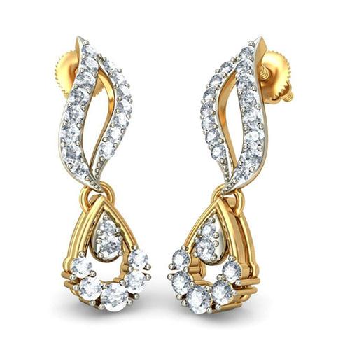 Золотые серьги Kiev Jewelry Abharan с бриллиантами 001322-1048051, фото