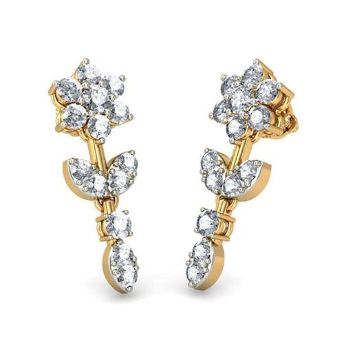 Золотые серьги Kiev Jewelry Devamani с бриллиантами 001324-1048055, фото