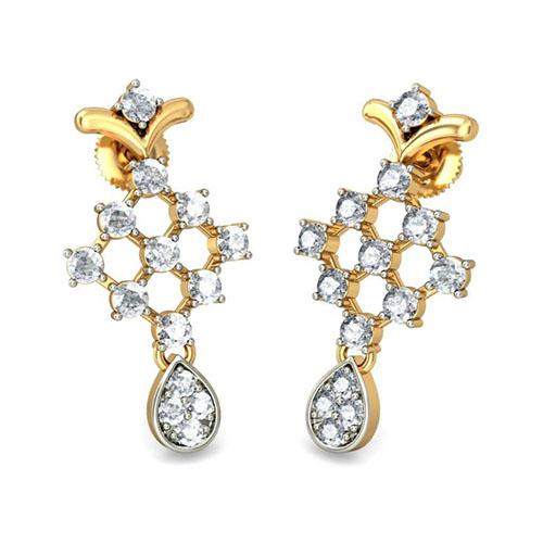 Золотые серьги Kiev Jewelry Ashmi из бриллианта 001330-1048076, фото