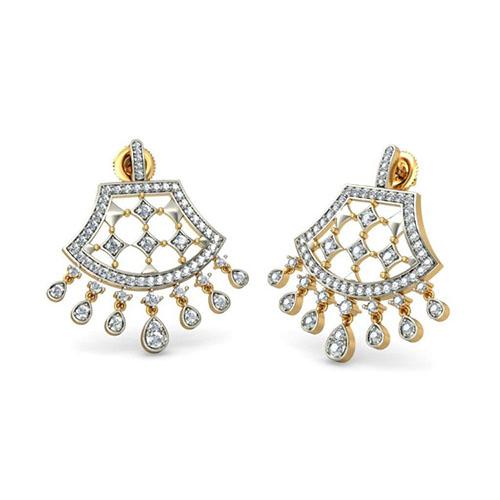 Золотые серьги Kiev Jewelry Anokhi инкрустированные бриллиантами 001331-1048078, фото