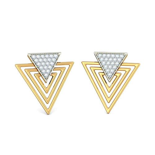 Золотые серьги Kiev Jewelry Tria с бриллиантами 001396-1048254, фото
