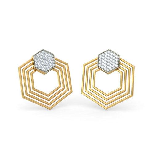 Изящные золотые серьги Kiev Jewelry Hexa с бриллиантами 001398-1048264, фото