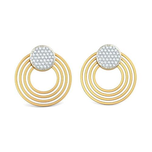Элегантные золотые серьги Kiev Jewelry Circula с бриллиантами 001411-1048309, фото