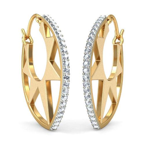 Золотые серьги Kiev Jewelry Corona с бриллиантами 001416-1048328, фото