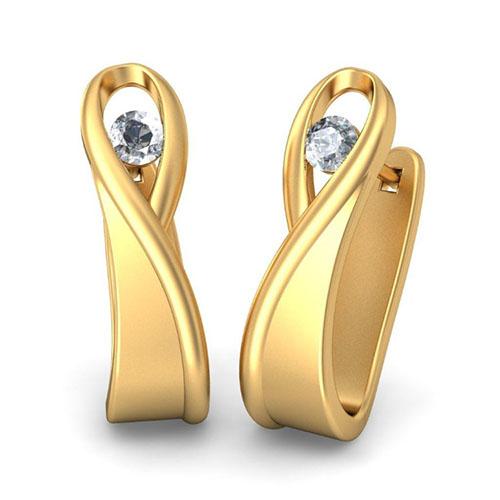 Золотые серьги Kiev Jewelry Pelagia с бриллиантами 001478-1048507, фото