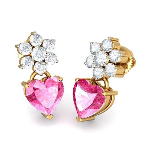 Изящные серьги Kiev Jewelry Drasan с бриллиантами и розовым турмалином 001524-1048627, фото