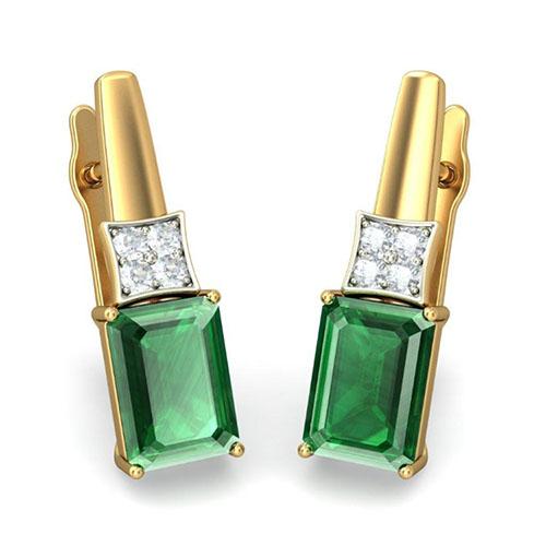 Серьги Kiev Jewelry Soma с бриллиантами и изумрудами 001615-1048869, фото