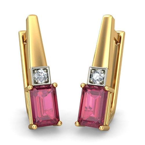 Утонченные сеьги Kiev Jewelry Raima с рубинами и бриллиантами 001623-1048887, фото