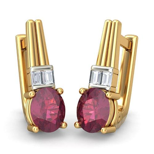 Серьги Kiev Jewelry Neyara с бриллиантами и рубинами 001632-54415, фото