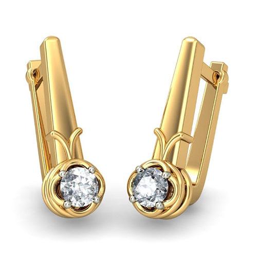 Золотые серьги Kiev Jewelry Jaime с бриллиантами 001640-1048948, фото