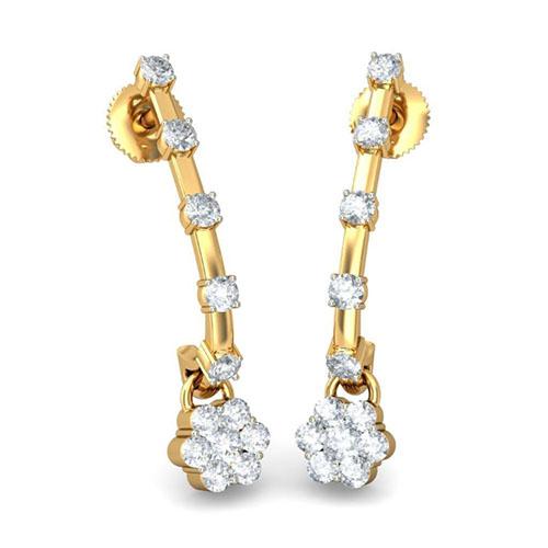 Золотые серьги Kiev Jewelry Sayan с бриллиантами 001663-1049010, фото