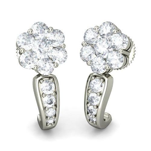 Серьги из белого золота Kiev Jewelry Mokya с бриллиантами 001671-1049035, фото