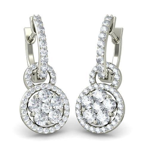 Серьги-подвески из белого золота Kiev Jewelry Ceeran с бриллиантами 001711-1049152, фото