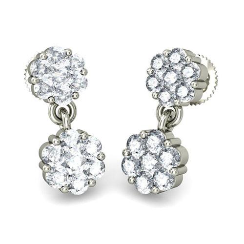 Серьги из белого золота Kiev Jewelry Arista с бриллиантами 001785-1049311, фото