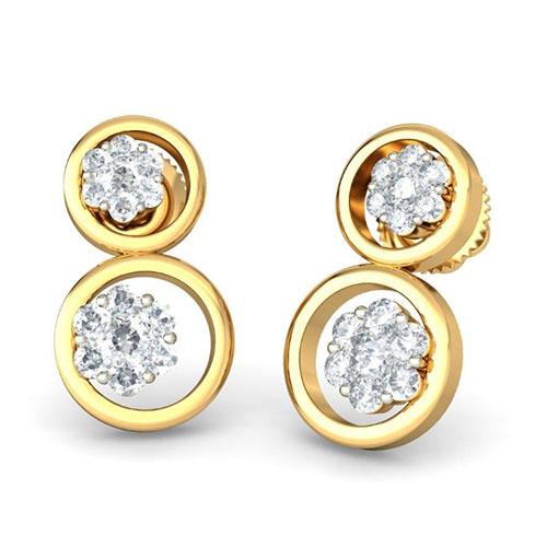 Золотые серьги Kiev Jewelry Dorita с бриллиантами 001799-1049352, фото