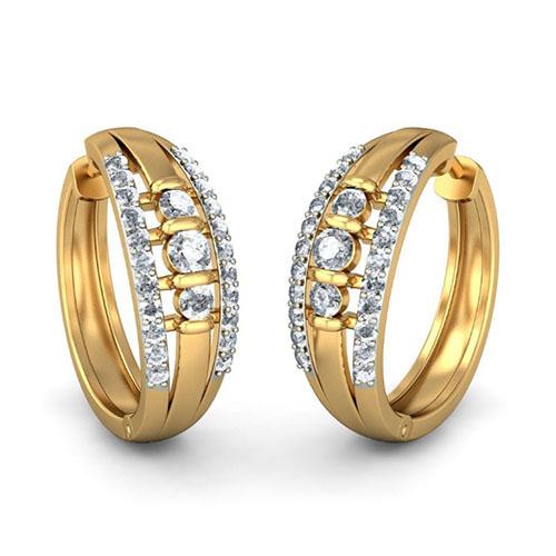 Золотые серьги Kiev Jewelry Alba с бриллиантами 001836-1049464, фото