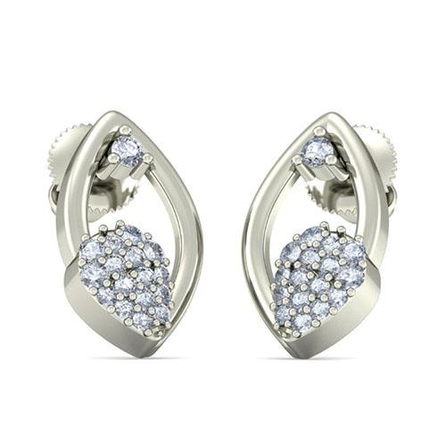 Изящные серьги из белого золота Kiev Jewelry Carol с бриллиантами 001858-1049531, фото