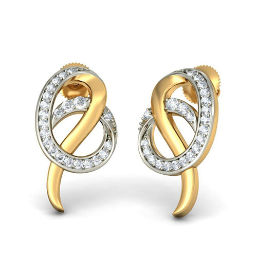 Золотые серьги в форме витков Kiev Jewelry Marcion с бриллиантами 001917-1049700, фото