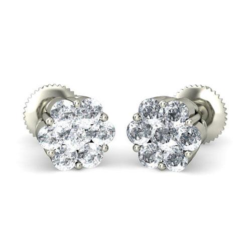 Серьги из белого золота Kiev Jewelry Kellen с бриллиантами 002017-1050067, фото