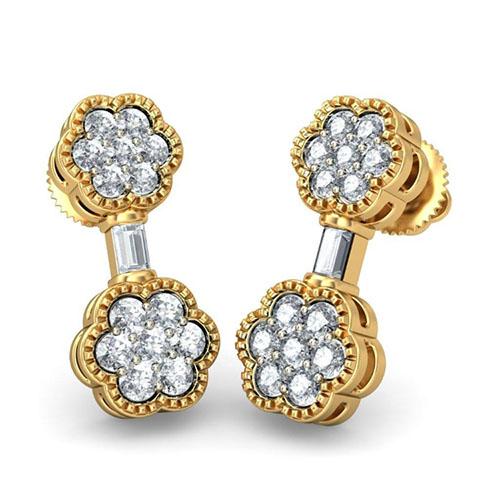 Золотые серьги Kiev Jewelry Tapasi с бриллиантами 002043-291569, фото