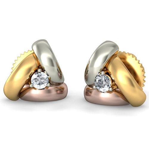Серьги-пусеты из золота Kiev Jewelry Trois с бриллиантами 002055-1050098, фото