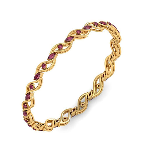 Золотой браслет Kiev Jewelry Trusha с фианитами 002115-344417-f, фото