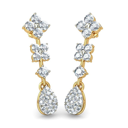 Изящные золотые серьги Kiev Jewelry Kanishka с бриллиантами 002200-1050490, фото