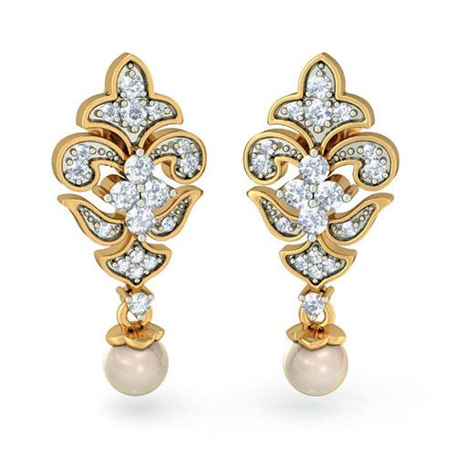 Золотые серьги Kiev Jewelry Lorelei с инкрустацией бриллиантами 002421-1050970, фото