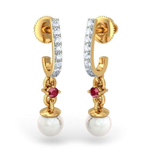 Элегантные серьги Kiev Jewelry Deema с бриллиантами и жемчугом 002447-1051040, фото
