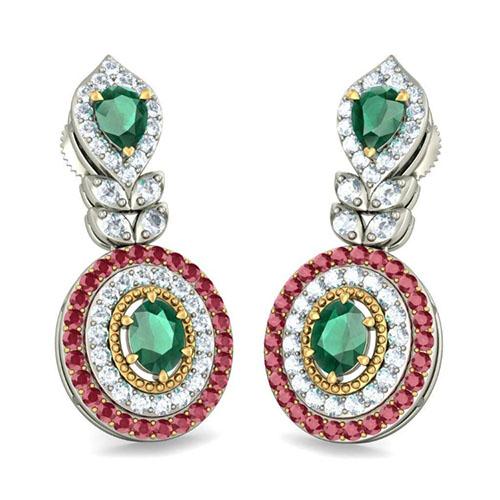 Серьги с инкрустауией бриллиантами Kiev Jewelry Rajeshwari изумрудами и рубинами 002491-1051164, фото