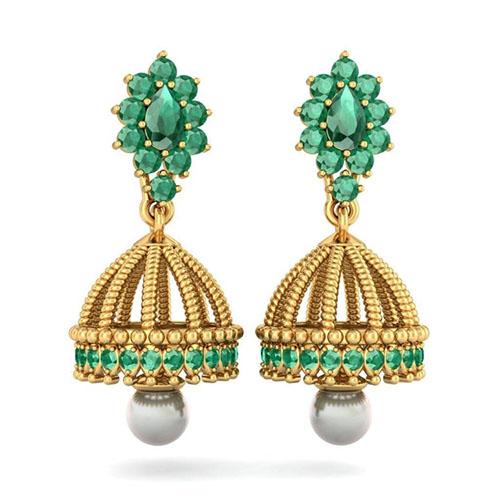 Золотые серьги Kiev Jewelry Fatima Detachable с инкрустацией изумрудами и жемчугом 002580-752697, фото