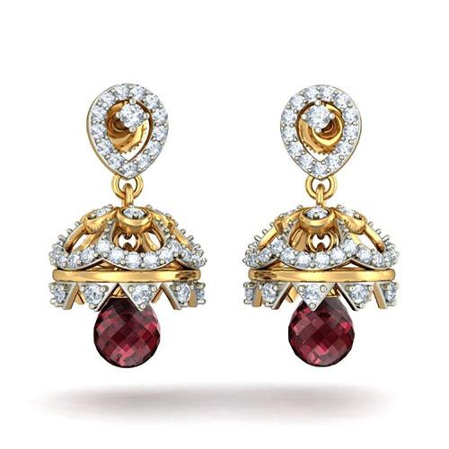 Серьги Kiev Jewelry Gorgeous Anahita с бриллиантами и родолитом 002593-1051444, фото