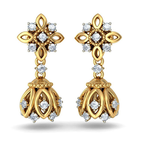 Золотые серьги Kiev Jewelry Mohini Detachable сбриллиантами 002597-1051453, фото