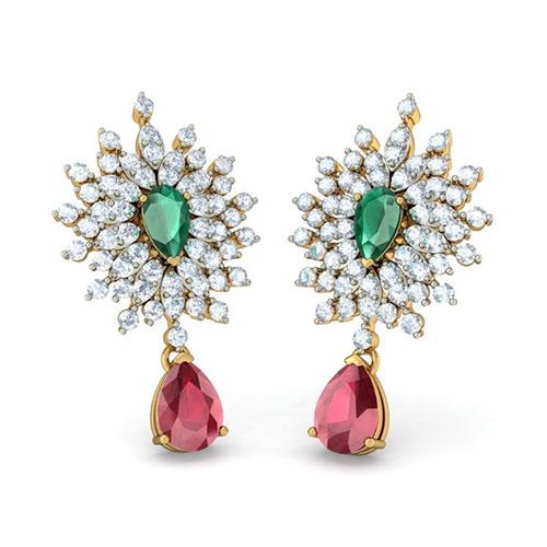 Серьги Kiev Jewelry Epitome Luxuriate с бриллиантами рубинами и изумрудами 002599-1051462, фото