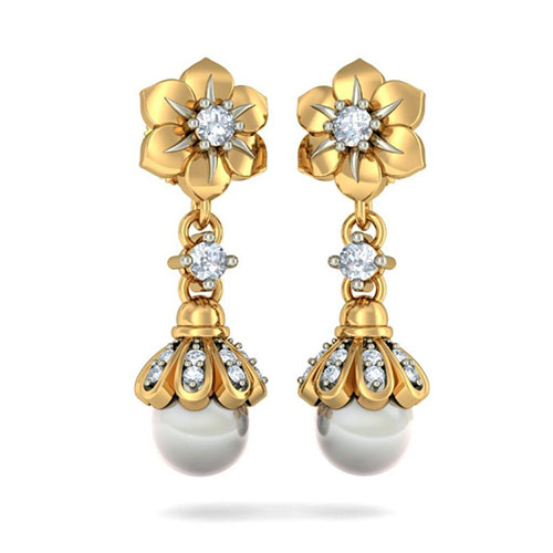 Серьги-подвески Kiev Jewelry Aarohi Flower с бриллиантами и жемчугом 002601-1051472, фото