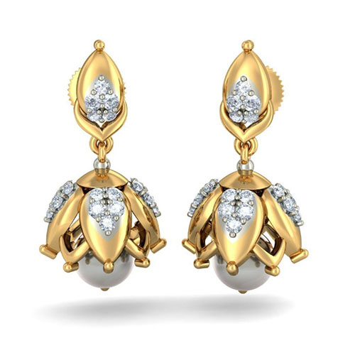Серьги Kiev Jewelry Delightful Mitali с бриллиантами и жемчугом 002602-1051475, фото