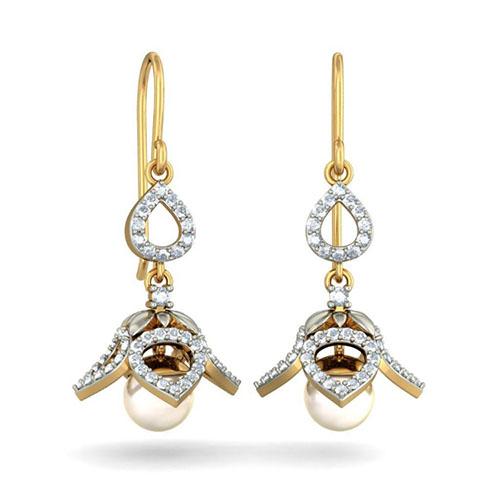 Золотые серьги-подвески Kiev Jewelry Blooming Nadia с жемчугом и бриллиантами 002603-1051479, фото