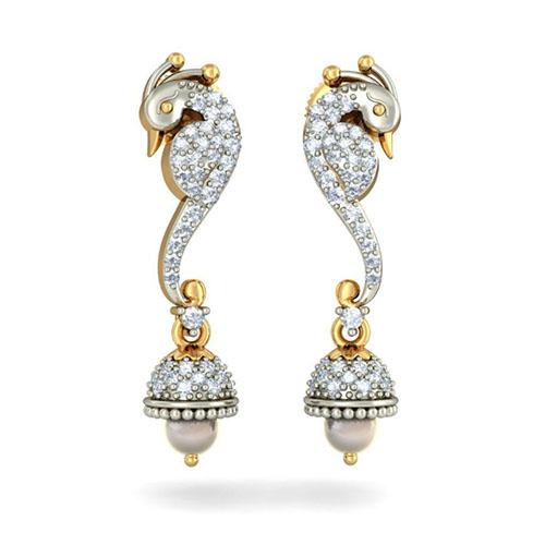 Золотые серьги Kiev Jewelry Dancing Peacock с жемчугом и бриллиантами 002604-1051483, фото