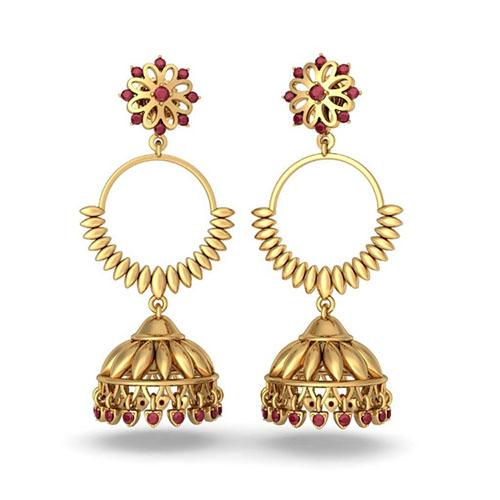 Золотые серьги Kiev Jewelry Madhavi Detachable с рубинами 002611-753035, фото