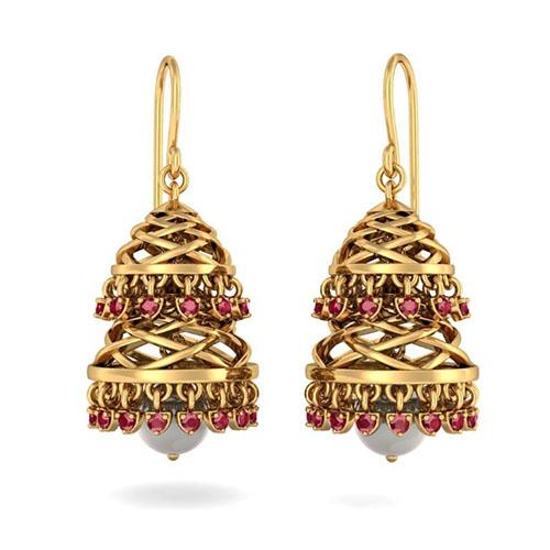 Золотые серьги Kiev Jewelry Mughal Charm с рубинами и жемчугом 002626-756056, фото