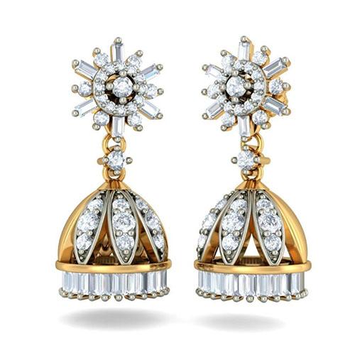Золотые серьги-подвески Kiev Jewelry Chandrika Detachable с бриллиантами 002628-756075, фото